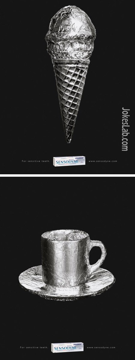 funny Sensodyne ad, toothpaste, cold or hot