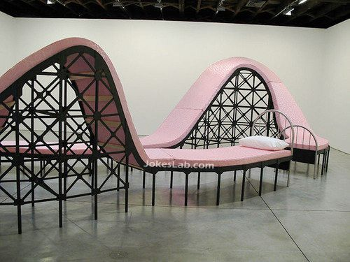 funny curved bed, not good for sex, your wife may complain