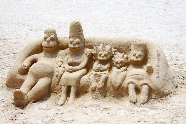 funny beach work, the Simpsons in the beach