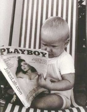 funny boy is reading a playboy magazine