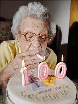 funny celebration, smoking leads to longevity