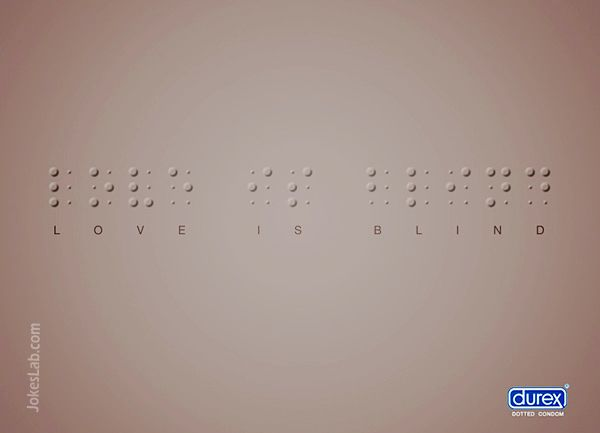 funny condom ad, dotted condom by Durex, love is blind