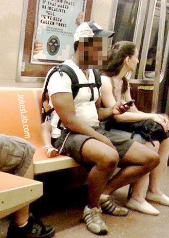 funny daddy carrying baby in train