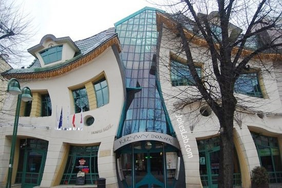 funny distorted building